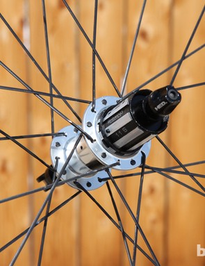 Standard HED Ardennes Plus SL wheels feature 18-hole, radially laced front wheels and 24-hole, two-cross rear drilling. Overall stiffness in this configuration is good but not exceptionally so. HED also offers an optional 'Stallion' build with a higher 20/28-hole spoke count if you want a little extra beef