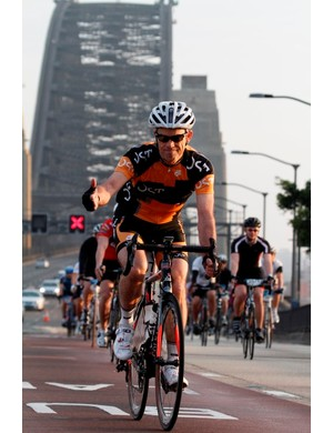 Riders cross the Sydney Harbour Bridge - on closed lanes