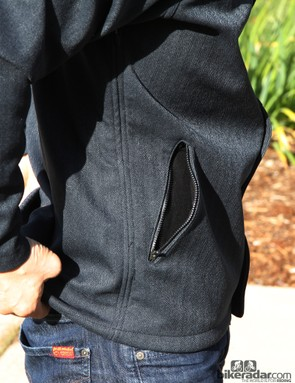 The zippered side pockets are fleece-lined for warmth