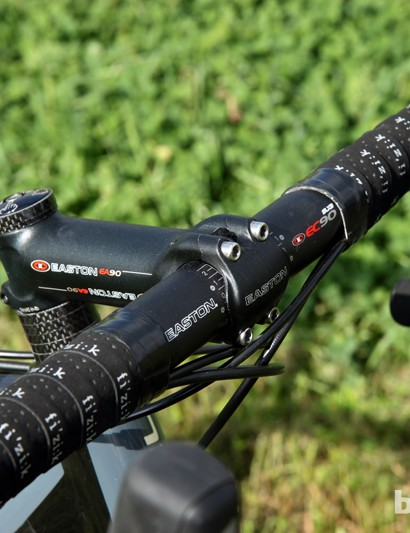 Jeremy Powers (Rapha-Focus) uses an Easton EC90 SLX3 carbon bar mated to an Easton EA90 forged aluminum stem