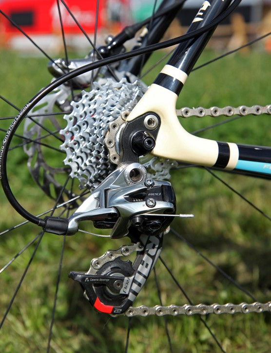 The SRAM Red 22 rear derailleur pushes the chain across a SRAM PG-1170 cassette