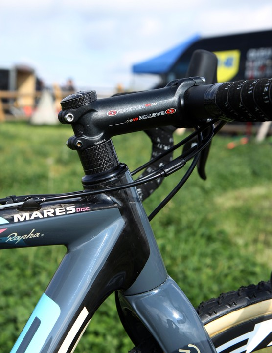 Before you chide Jeremy Powers (Rapha-Focus) for his stack of headset spacers, remember that the Focus Mares CX frame has a rather short head tube