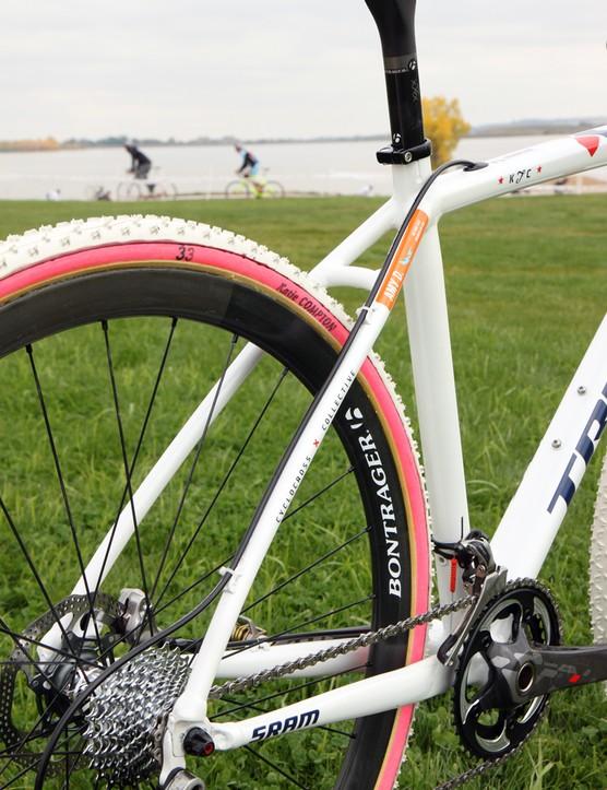 Katie Compton's (Trek Cyclocross Collective) coach and mechanic, Mark Legg-Compton, says that Trek's aluminum Crockett actually sheds mud better than the carbon fiber Cronus CX
