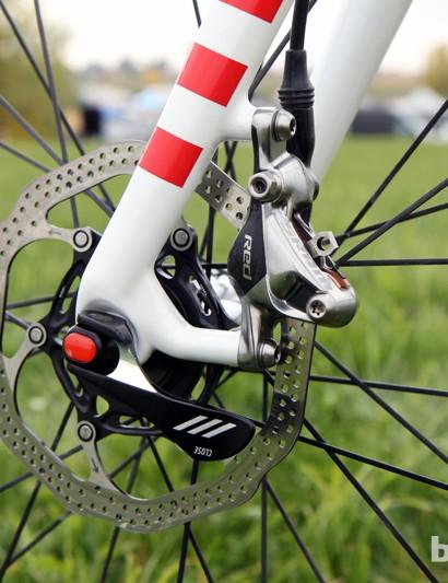 Trek sizes the post mounts on the Crockett fork for 140mm-diameter rotors