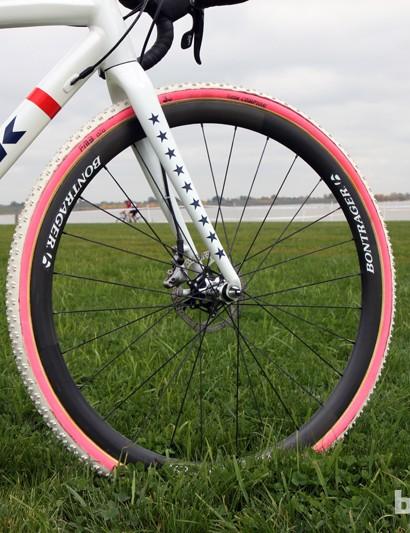 Katie Compton (Trek Cyclocross Collective) is using Bontrager's as-yet-announced RXXXL Disc carbon tubular wheels
