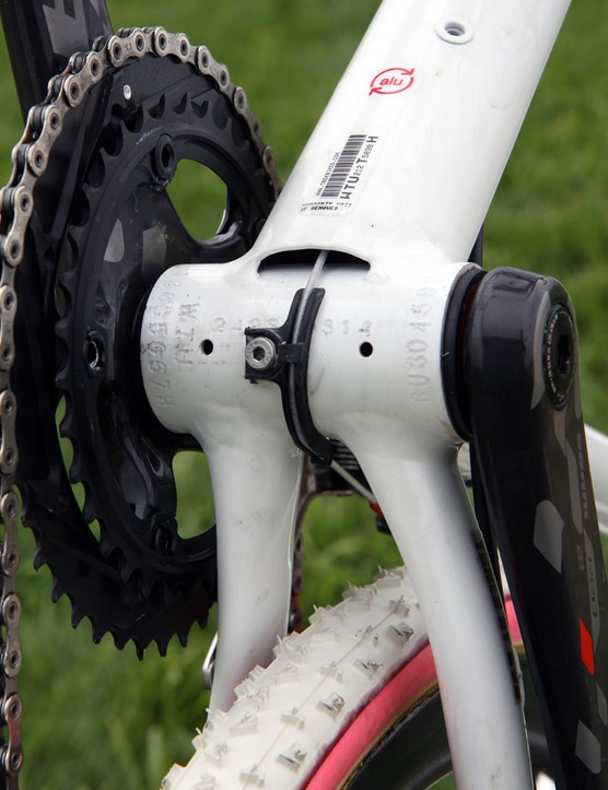 Trek leaves the underside of the down tube open for easier cable maintenance and to serve as a drain in case water gets in