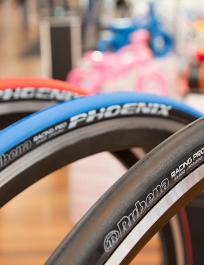 The new Rubena Phoenix road tyres. 127TPI, 23c width only and available in red, blue, black or fluro yellow