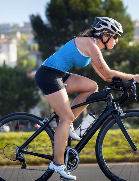 The Specialized Alias Tri is a road bike that comes with clip-on bars and a zero-offset seatpost