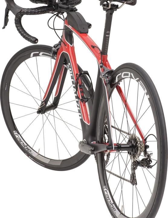 The Specialized Alias is a women's bike with a steeper (77- to 78-degree) seat tube for dual use. Most aero positions bring the rider forward as well as down