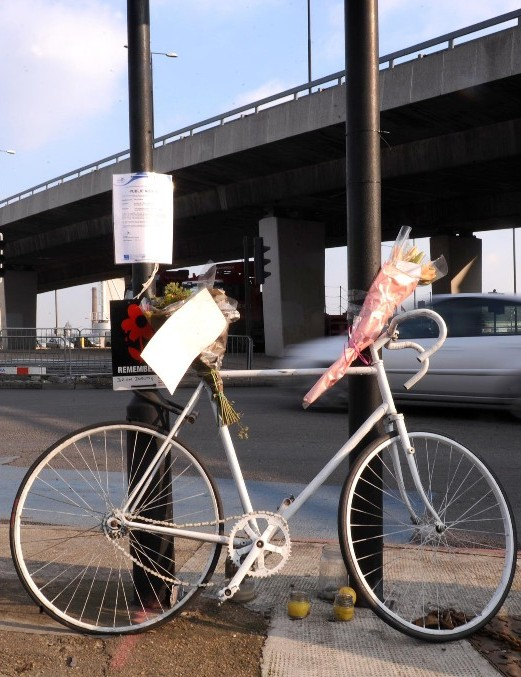 A ghost bike in memorial of a killed cyclist at Bow rounadabout
