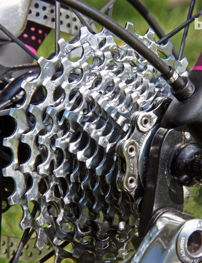 The rear derailleur housing's exit point atop the dropout doesn't just yield a clean aesthetic. It also keeps the housing out of the way for faster wheel changes