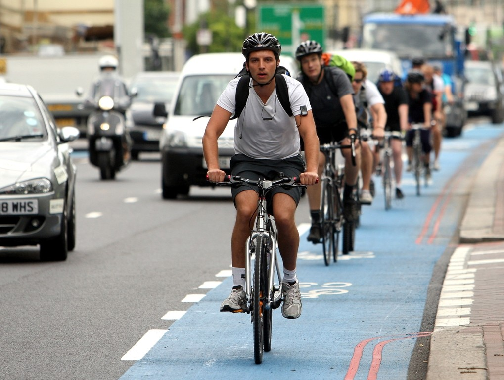 The blue paint used on London's Barcalys Cycle Superhighways has come under fire