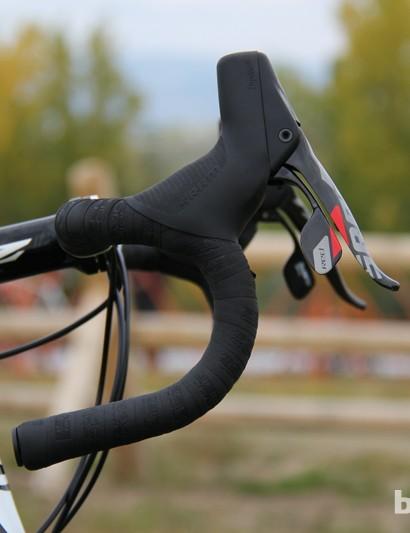 Trebon runs his SRAM RED 22 levers very high on the handlebar