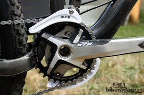 A Wolf Tooth Components chainring and MRP guide provide ultimate chain security in the roughest of conditions