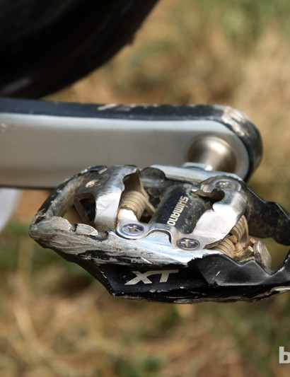 Whereas he once would have preferred Crankbrothers' ultralight Eggbeater 4ti pedals, Horgan-Kobelski now employs Shimano's more supportive - and incredibly durable - Deore XT Trail pedals
