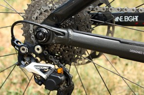 More chain control is provided by the Shimano XTR Shadow Plus rear derailleur with its friction clutch-equipped pulley cage