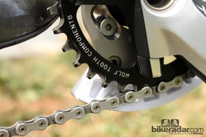 Wolf Tooth Component's dedicated 1x chainring uses especially tall teeth, even when compared to other thick-thin type rings. Horgan-Kobelski says he's had zero issues with chain security