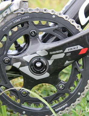 Trebon is running a 46/36T chainring combo