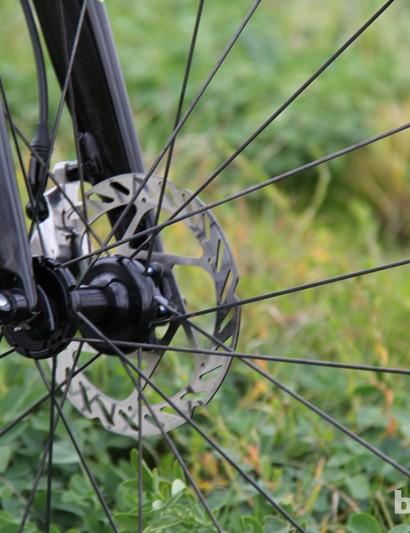 This season Trebon is running a Zipp 303 Firecrest wheelset with Zipp disc hubs