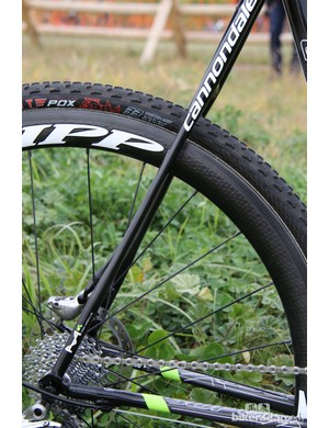 The SuperX Hi-Mod Disc has slender seatstays to take the edge off rough and rutted courses
