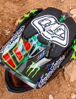 The Troy Lee Designs prototype D3 helmet uses sections of EPS foam externally