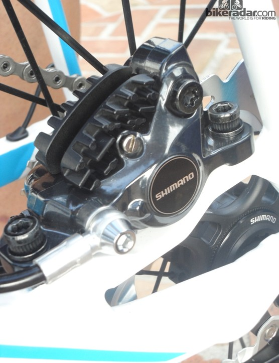 The calliper is based on current Shimano XT and the performance is tuned for road use by the shifter unit