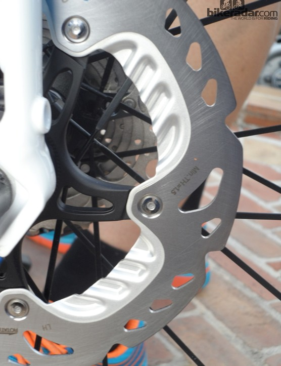 IceTech Freeza rotors have the unique cooling fins carried over from mountain bikes