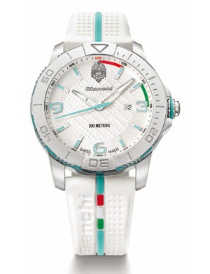 Black, celeste sky blue and this white version are the colours in the Bianchi watch range