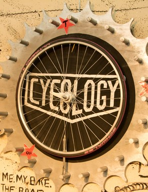 Much like the t-shirt designs, the booth was pure cycle art