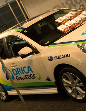 Subaru and Orica GreenEdge were both on show and selling team apparel to attending fans
