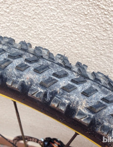 The rear specific Mavic's Crossmax tyre looks particularly game when compared to the front tyre