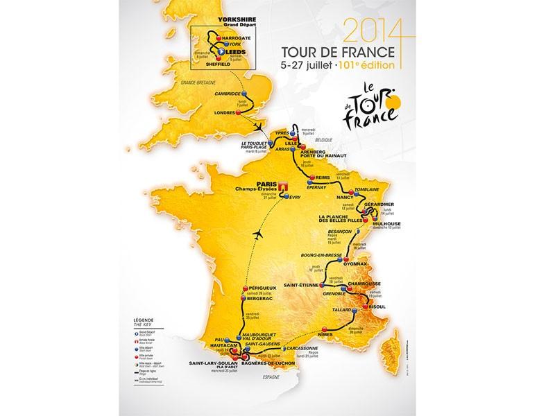 The route of the 2014 Tour de France