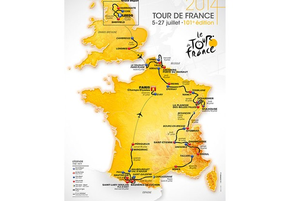 The route of the 2014 Tour de France