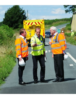 Gary Verity (left) from Welcome to Yorkshire and John Weighell of North Yorkshire Council show Christian Prudhomme developments for the 2014 grand depart