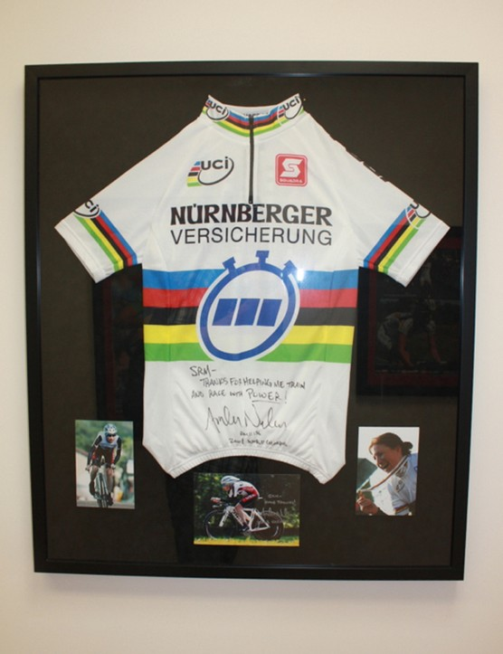 Amber Neben is one of many riders to earn a rainbow jersey on an SRM