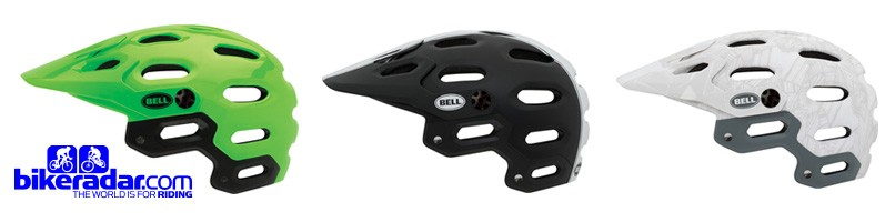 The Bell Super is available in Australia in three colours - Super Bright Green, Black White Star and White Silver Web