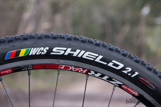 Ritchey Shield WCS tyre - grippy and fast in dry conditions. WCS stands for World Cup Series and the Ritchey brand is no stranger to the top podium spot