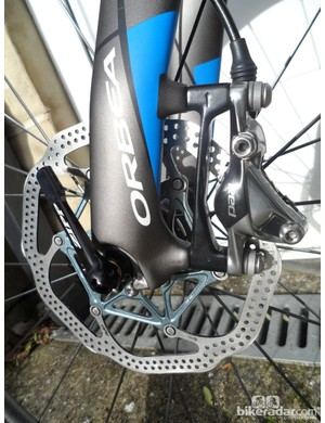 Orbea have chosen the 160mm rotor option for their stoppers