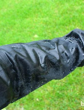 Bontrager Stormshell jacket: light rain beads up on the jacket. Harder rain looks like it's soaking through, but it isn't