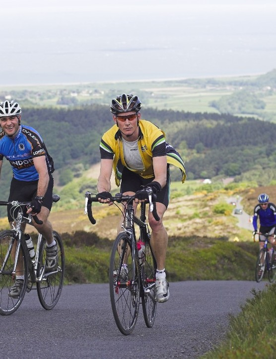 Riders reach the roof of Somerset - Dunkery Beacon on Exmoor in the Tour of Wessex