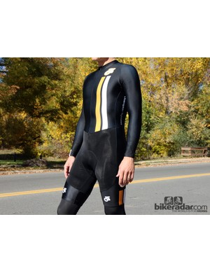 Champion System's Custom Cyclocross suit features fleece lining on the shorts and chest
