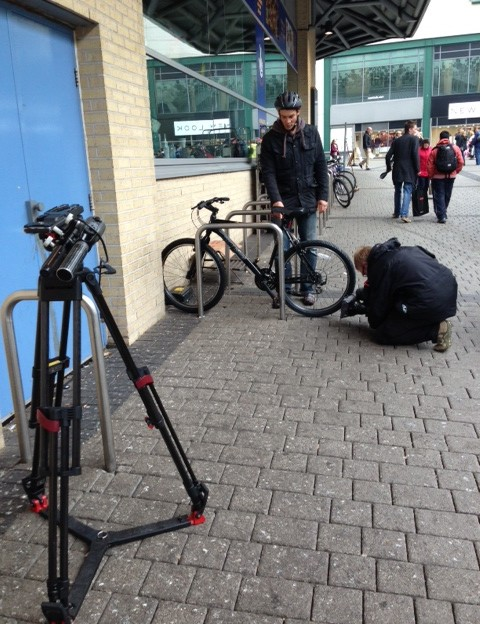 The BBC Inside Out West Midlands team with the GPS fitted bike in Birmingham