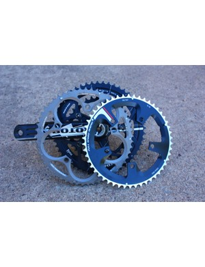 While standard and compact cranks and chainrings are similar in design, they are not compatible