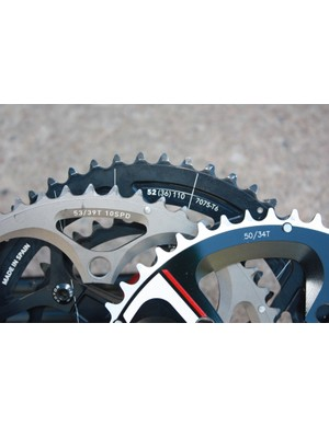 53- and 50-tooth big chainrings are common. Many BikeRadar riders prefer the middle-size 52