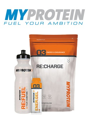 The Myprotein energy bundle of gels, energy drink and bottle