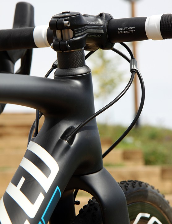 Much of the frame's shaping is cribbed from the Tarmac, including how the top tube and down tube sort of 'wrap around' the hourglass-shaped tapered head tube
