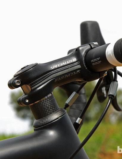 The Specialized Pro-Set stem is conveniently adjustable for angle but it's also quite the boat anchor