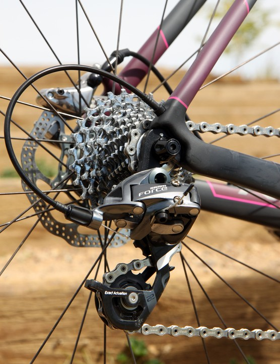 Sure, SRAM Red 22 derailleurs would save a few grams but Force ones are much cheaper to replace in the event of a wreck. Internal cable routing protects the lines from mud and water too