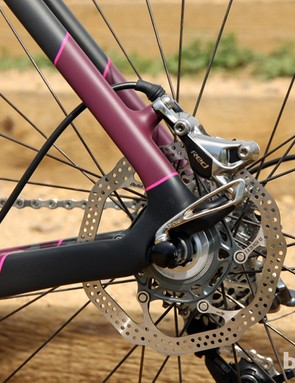 Specialized has opted to mount the rear caliper on the seat stay instead of tucking it inside the rear triangle