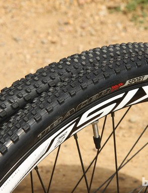 The Specialized Tracer Sport tires that come pre-mounted on the DT Axis 2.0 Disc alloy clinchers are perfect for training. They're reasonably fast rolling but with a tread design that works well enough on a wide range of terrain